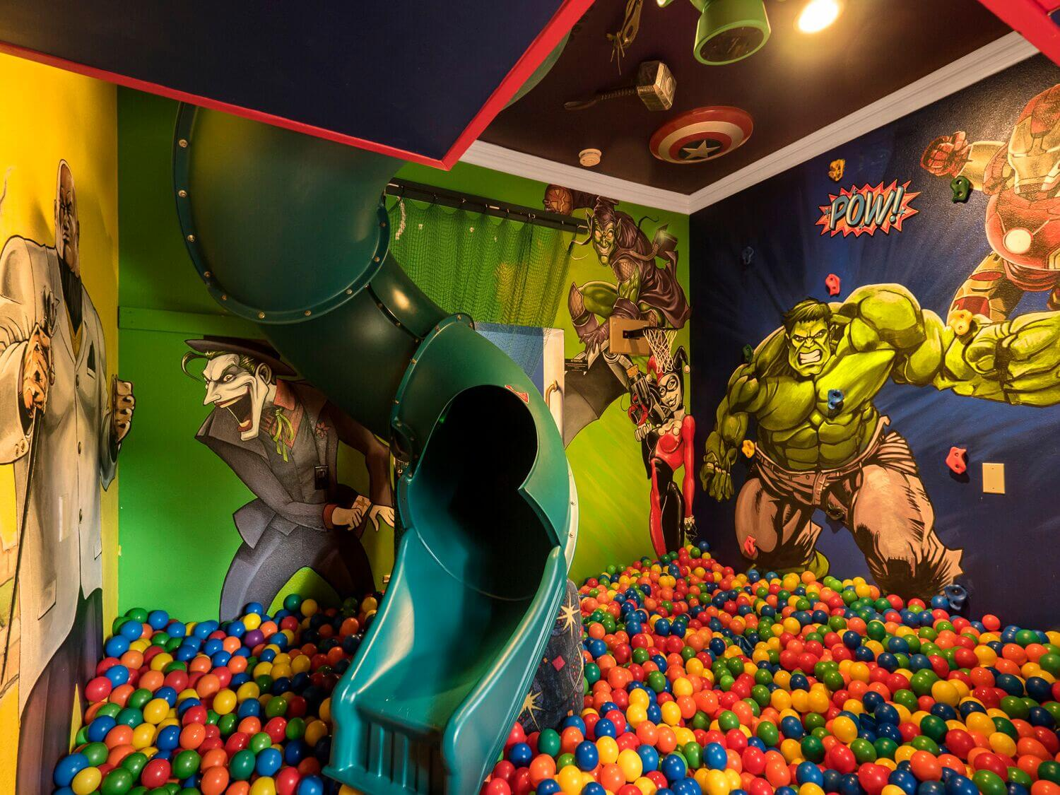 home with ballpit and indoor slide